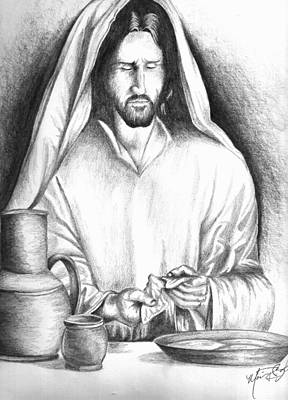Drawing - Yeshua Breaking Bread by Marvin Barham