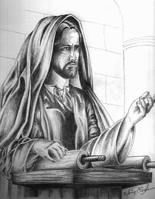 Drawing - Yeshua In The Temple by Marvin Barham