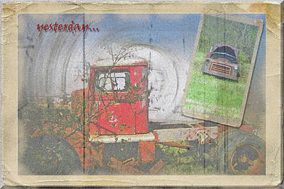 Art Print featuring the photograph Yesterday Trucks Postcard by Larry Bishop