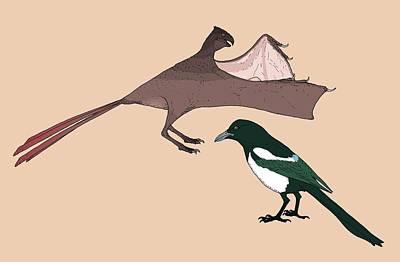 Flying Dinosaur Photograph - Yi Qi Dinosaur Size Comparison by Nemo Ramjet