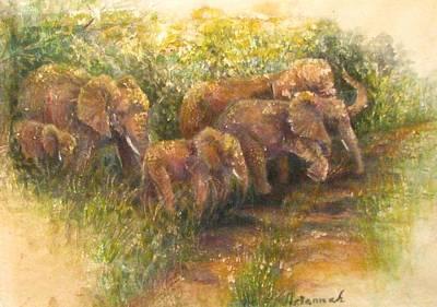 Yielding To Elephants Art Print by Ursula Brozovich