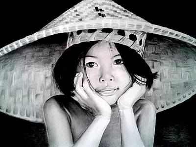 Thai Drawing - Yim Noi by Steven Beattie
