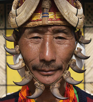 Yimchungru Tribesman During Hornbill Art Print by Jeremy Hunter