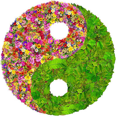 Yin And Yang Floral Isolated Symbol  Art Print by Aleksandr Volkov