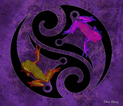 Yin And Yang Tree Frogs Art Print by Diana Shively