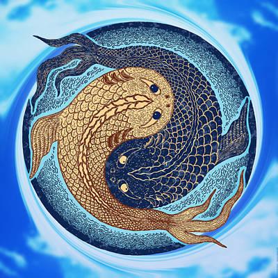Koi Digital Art - Yin Yang Koi Fish Mandala by Peter Barreda