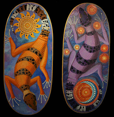 Painting - Yin Yang Lizards by Amanda  Lynne