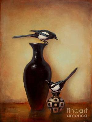 Magpies Painting - Yin Yang - Magpies  by Lori  McNee