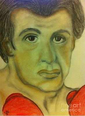 Sylvester Stallone Drawing - Yo Adrian by Joy Borsavage