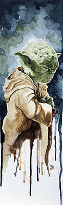Movie Stars Painting - Yoda by David Kraig