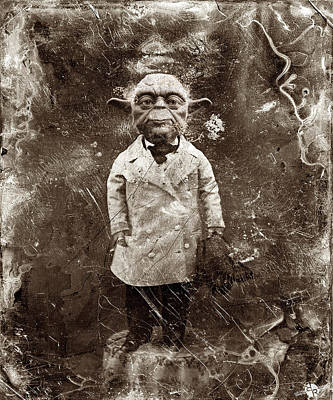 Portraits Paintings - Yoda Star Wars Antique Photo by Tony Rubino
