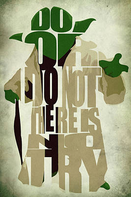 Typographic Digital Art - Yoda - Star Wars by Inspirowl Design