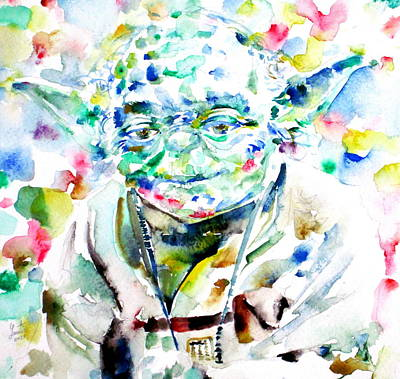 Yoda Watercolor Portrait.1 Art Print by Fabrizio Cassetta
