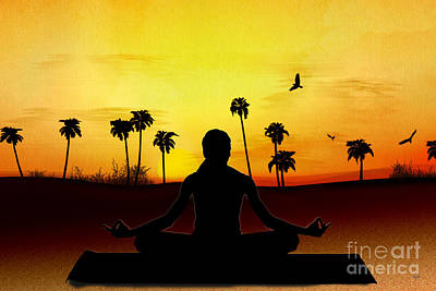 Concentration Mixed Media - Yoga At Sunrise by Bedros Awak