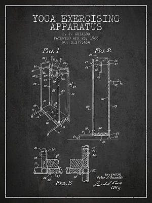 Yoga Exercising Apparatus Patent From 1968 - Charcoal Art Print by Aged Pixel