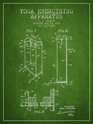 Yoga Exercising Apparatus Patent From 1968 - Green Art Print by Aged Pixel