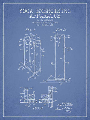 Yoga Exercising Apparatus Patent From 1968 - Light Blue Print by Aged Pixel