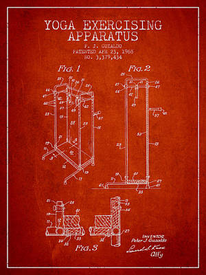Yoga Exercising Apparatus Patent From 1968 - Red Art Print by Aged Pixel