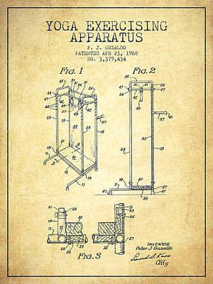 Yoga Exercising Apparatus Patent From 1968 - Vintage Art Print by Aged Pixel