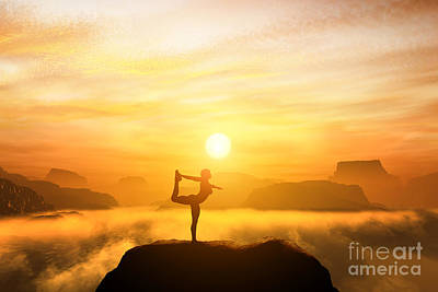Exercise Photograph - Yoga Position. Meditating In Mountains by Michal Bednarek