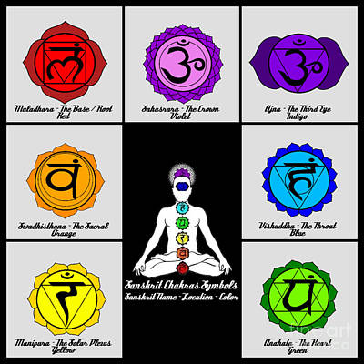 Muladhara Digital Art - Yoga Reiki Seven Chakra Symbols Chart by Ernest Bolds