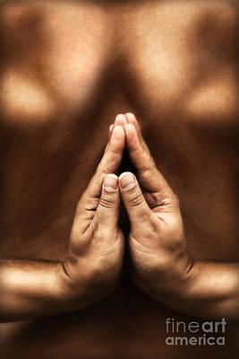 Yoga Theme With Reversed Namaste Art Print