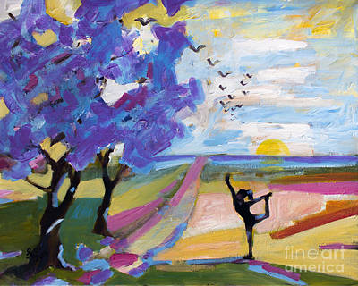 Yoga Under The Jacaranda Trees Art Print