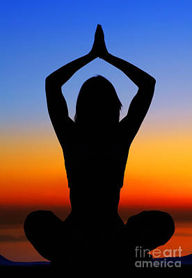 Woman Doing Yoga Photograph - Yoga Woman Over Sunset by Anna Om