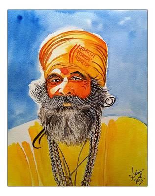 Sadhu Painting - Yogi by Sarabjit Kaur