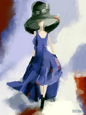 Blue And Red Painting - Yohji Yamamoto Fashion Illustration Art Print by Beverly Brown Prints