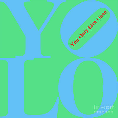 Yolo - You Only Live Once 20140125 Blue Green Red Art Print