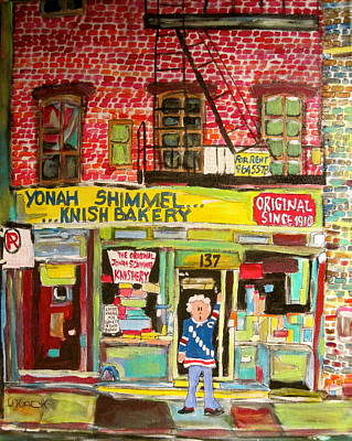 Fireescape Painting - Yonah's Knish Bakery by Michael Litvack