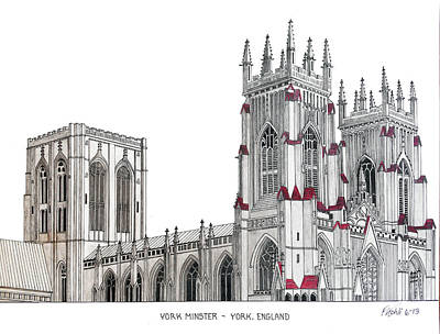 Drawing - York Minster by Frederic Kohli
