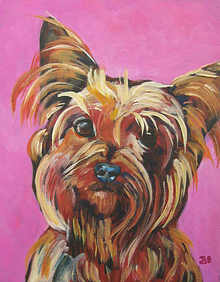 Painting - Yorkie - Poppy In Pink by Janet Burt
