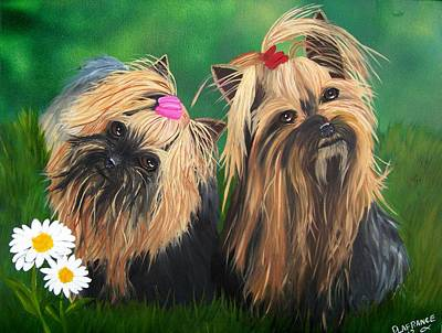 Canine Painting - Yorkie Friends by Debbie LaFrance