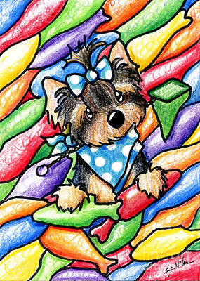Yorkie Drawing - Yorkie In Candy Fish by Kim Niles