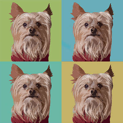 Shirt Digital Art - Yorkie Times Four by Susan Stone