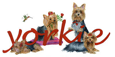Painting - Yorkies by Terry Albert