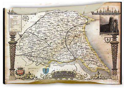 Digital Art - Yorkshire East Riding England 1850 Map by Melissa Messick