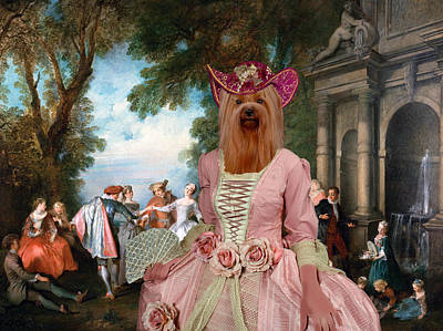 Yorkshire Terrier Art Painting - Yorkshire Terrier Art - Dancing At The Fountain by Sandra Sij