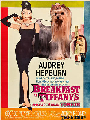 Painting - Yorkshire Terrier Art Canvas Print - Breakfast At Tiffany Movie Poster by Sandra Sij