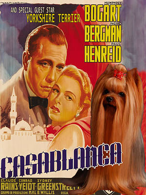 Painting - Yorkshire Terrier Art Canvas Print - Casablanca Movie Poster by Sandra Sij