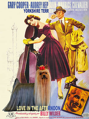 Painting - Yorkshire Terrier Art Canvas Print - Love In The Afternoon Movie Poster by Sandra Sij