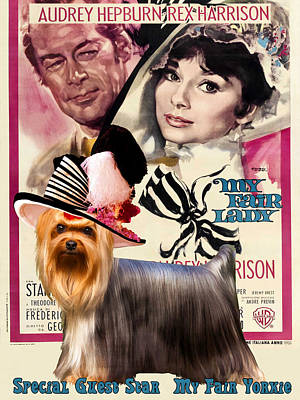Painting - Yorkshire Terrier Art Canvas Print - My Fair Lady Movie Poster by Sandra Sij