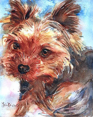 Puppy Lover Painting - Yorkshire Terrier by Maria's Watercolor