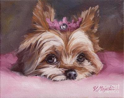 Painting - Yorkshire Terrier Princess In Pink by Viktoria K Majestic