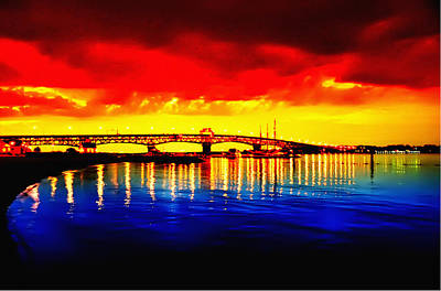 Yorktown Bridge Sunset Art Print