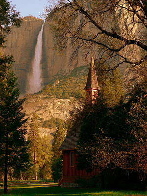 Photograph - Yosemite Chapel And Falls In Color At Sunrise by Jeff Lowe