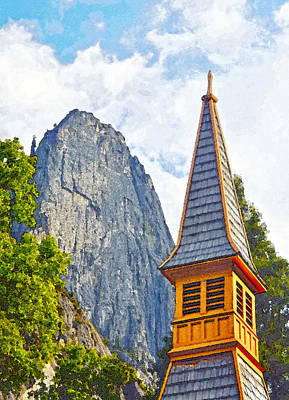 Digital Art - Yosemite Chapel And Sentinel Rock by Steven Barrows