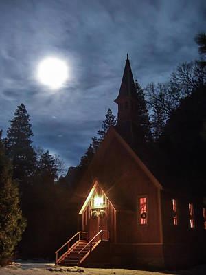 Yosemite Chapel Under A Full Moon Art Print